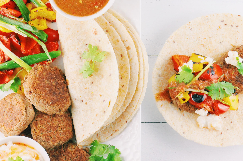 Falafel Wraps, Grilled Veg & Salsa