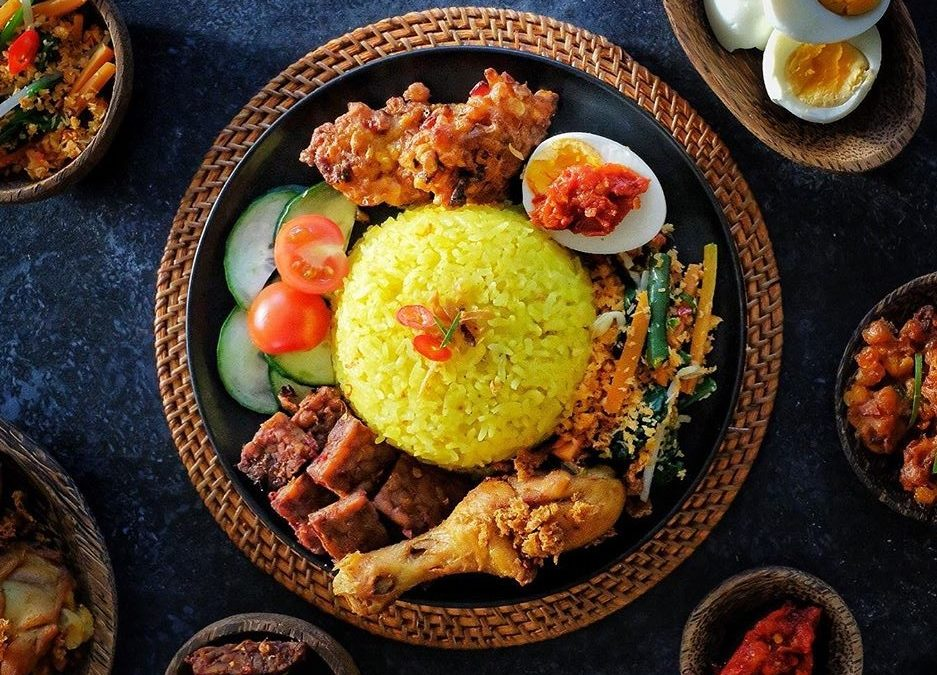 Nasi Kuning Komplit (Indonesian Yellow Rice Set)
